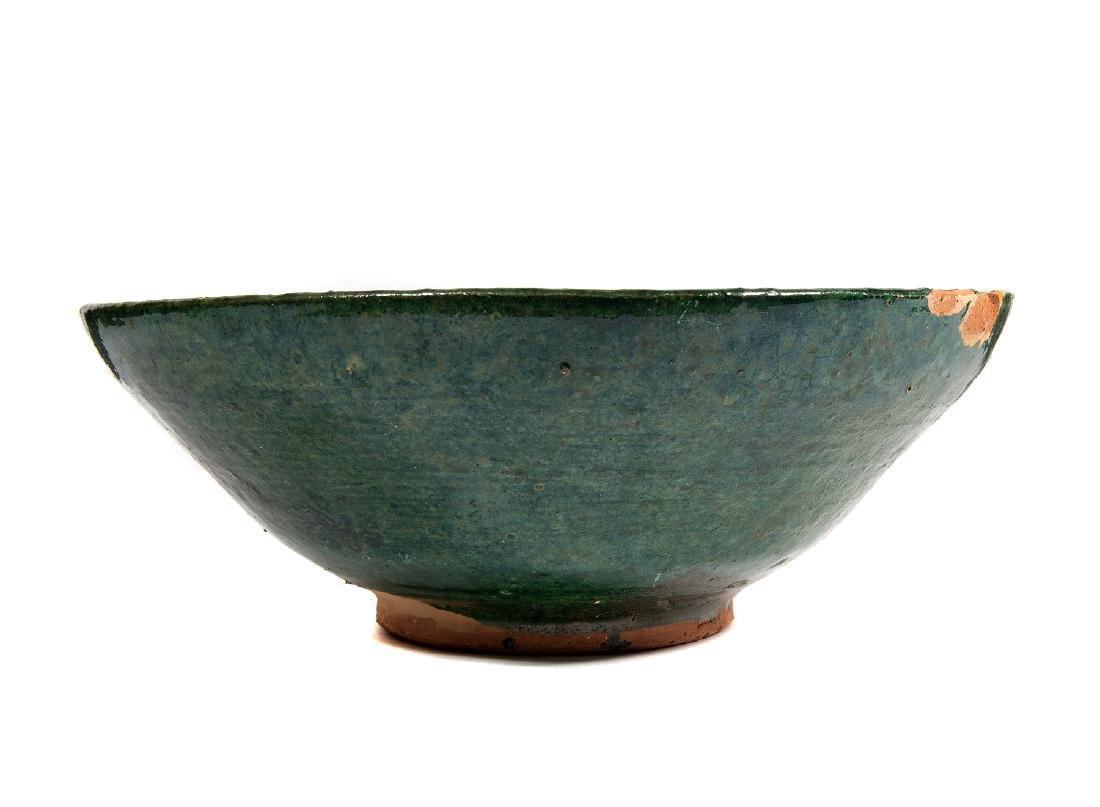 GREEN CLAY CERAMIC BOWL