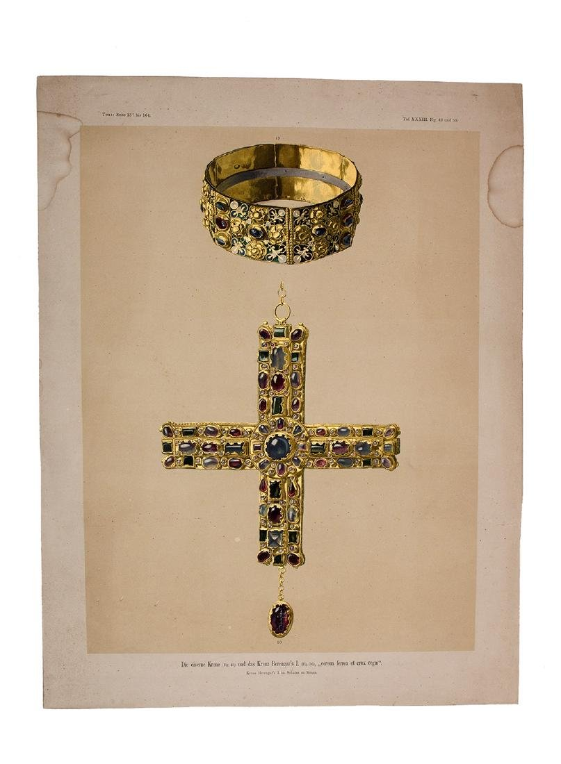 A CHROMOLITHOGRAPH PRINT: CROWN AND CROSS OF BERENGAR I
