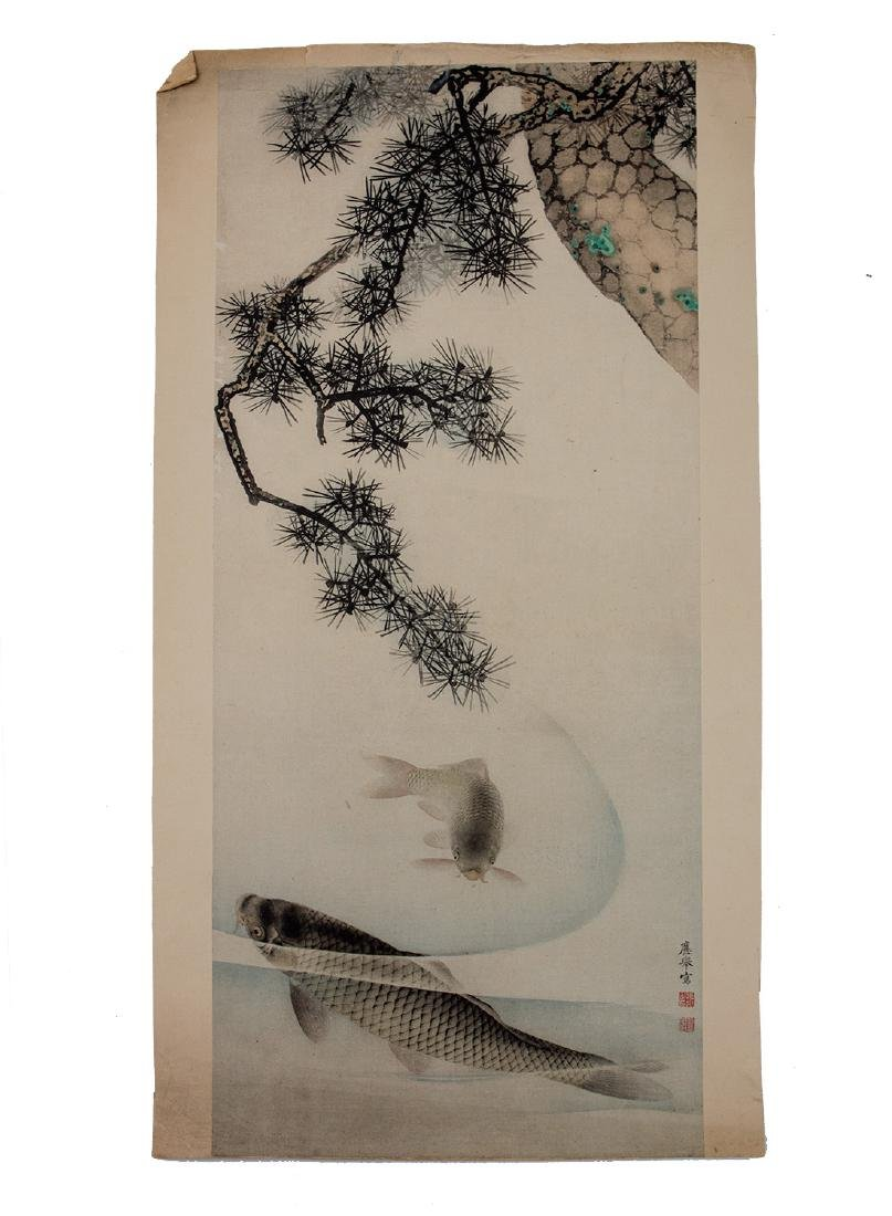 A JAPANESE WOODBLOCK PRINT WITH CARPS 18TH C.