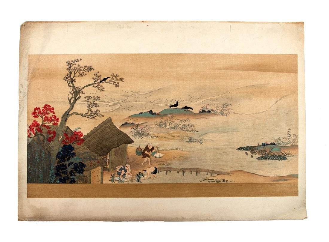 A JAPANESE WOODBLOCK PRINT DEPICTING A VILLAGE 19TH C.