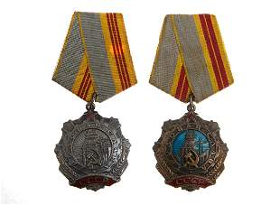 TWO SOVIET ORDERS OF LABOR GLORY 2ND AND 3RD CLASS