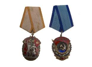 TWO SOVIET ORDERS THE BADGE OF HONOR TYPE 4 AND THE