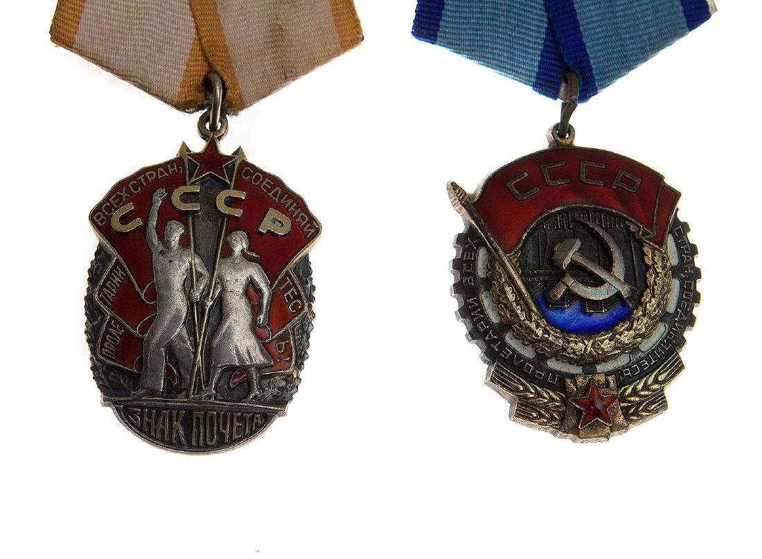 TWO SOVIET ORDERS THE BADGE OF HONOR, TYPE 4 AND THE - 2