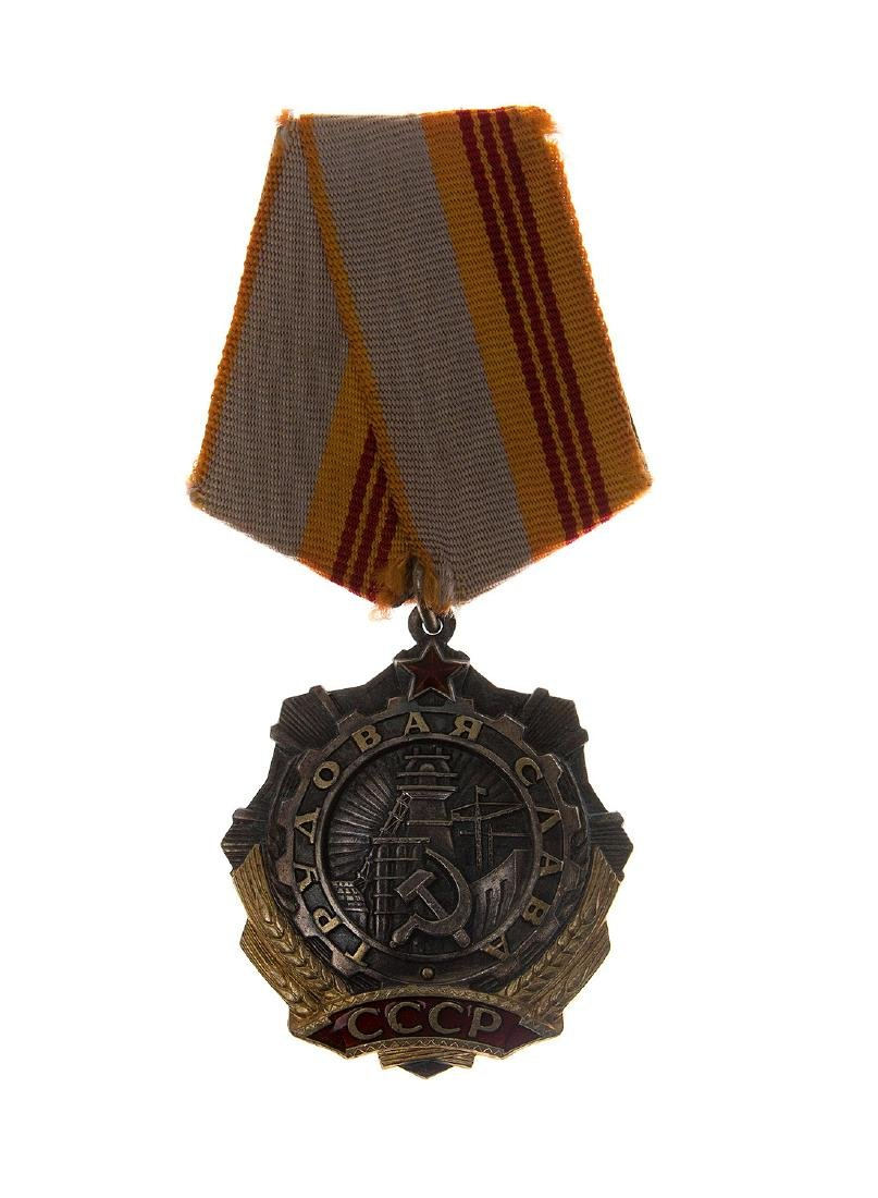 TWO SOVIET ORDERS OF LABOR GLORY, 3RD CLASS AND THE RED