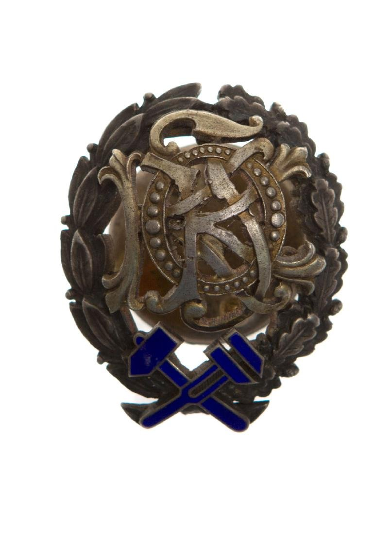 EARLY SOVIET SILVER AND ENAMEL TECHNICAL COLLEGE BADGE