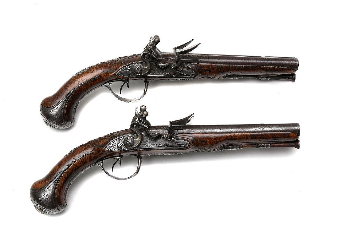 PAIR OF 18TH CENTURY FLINTLOCK PISTOLS BY THE LORAIN IN