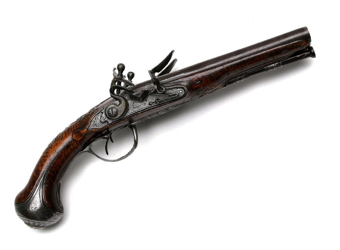PAIR OF 18TH CENTURY FLINTLOCK PISTOLS BY THE LORAIN IN - 6