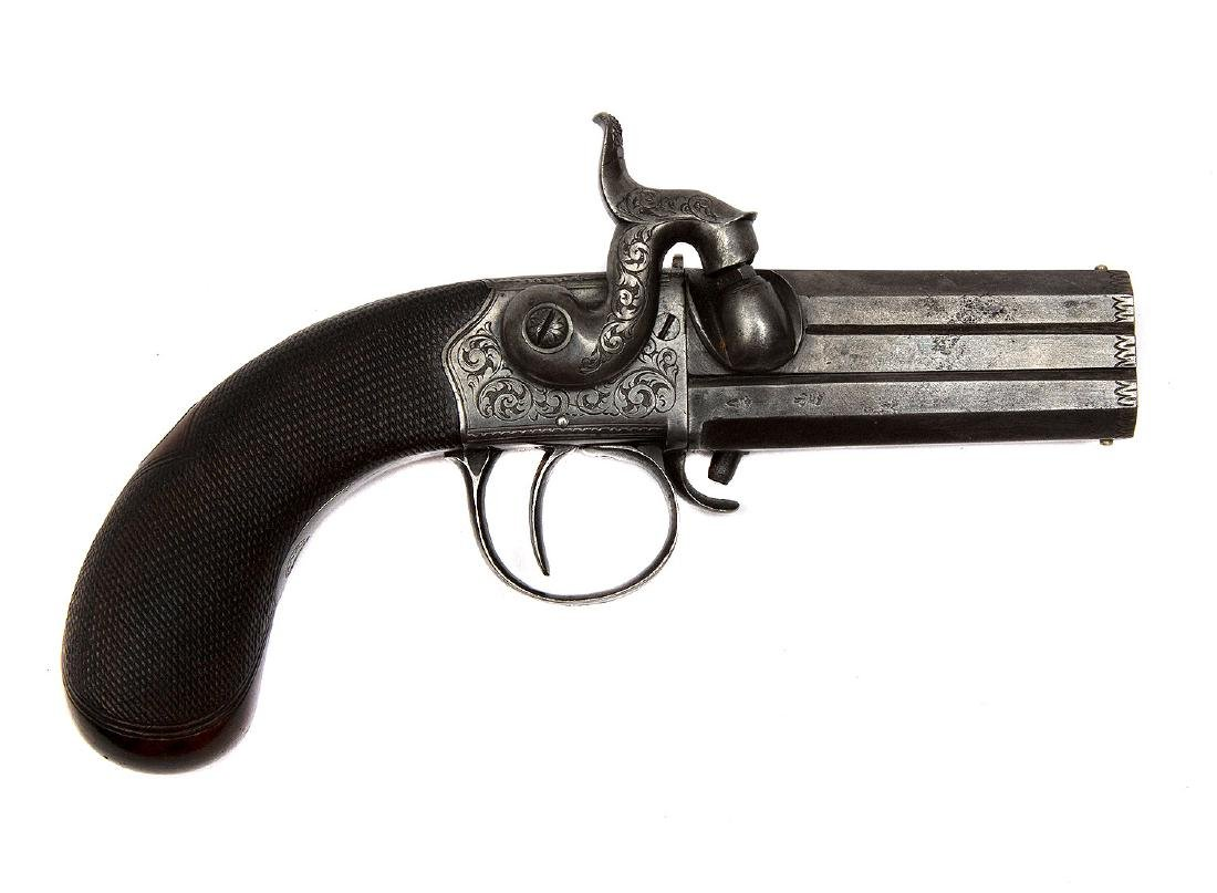 EUROPEAN OVER + UNDER SWIVEL BARREL PINFIRE REVOLVER