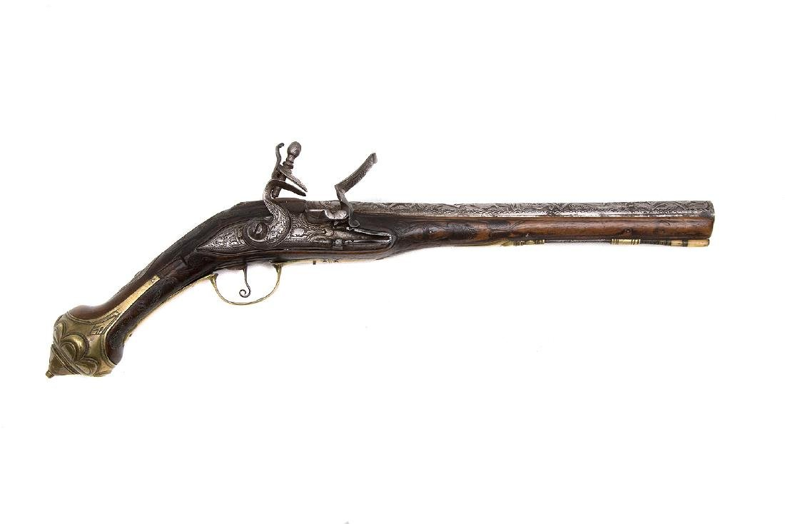 MIDDLE EASTERN ENGRAVED FLINTLOCK PISTOL, 19TH C.