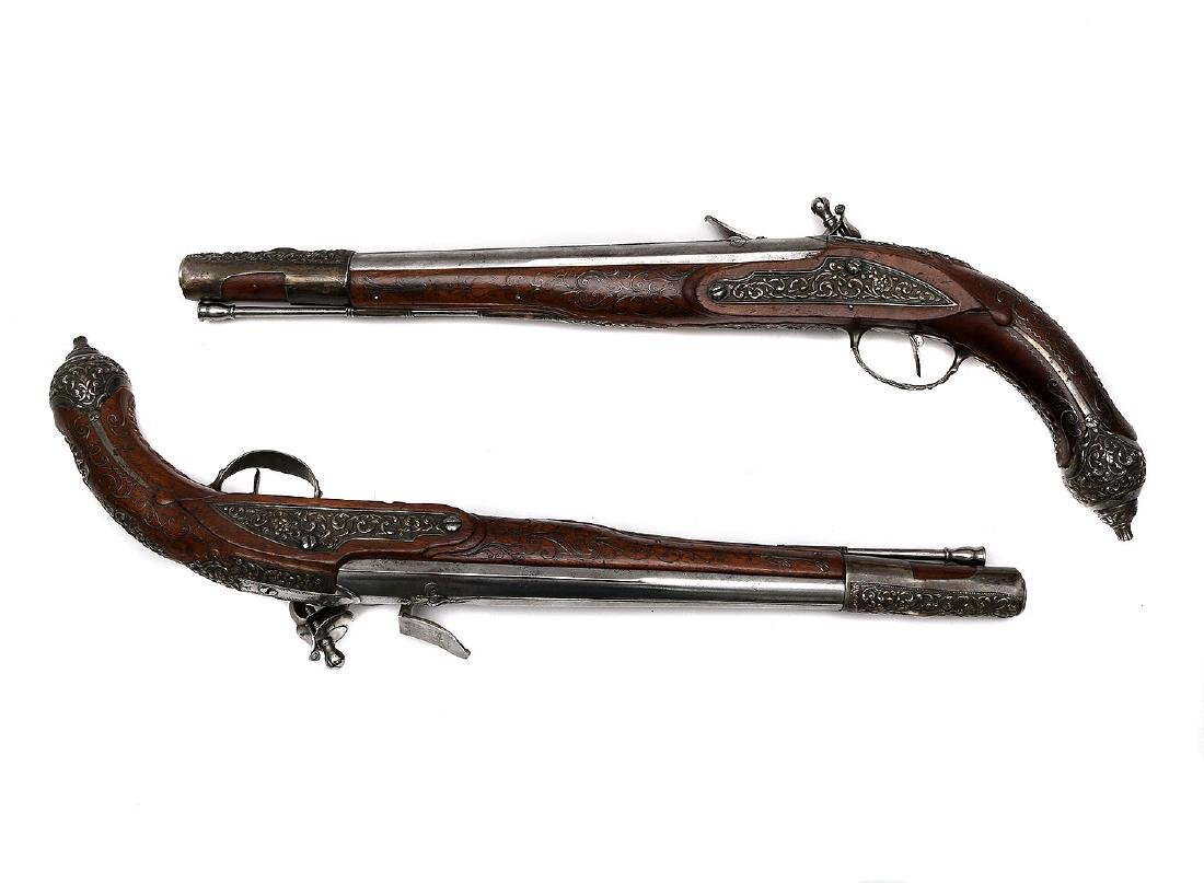 A PAIR OF FRENCH FLINTLOCK PISTOLS FOR EASTERN MARKET, - 2