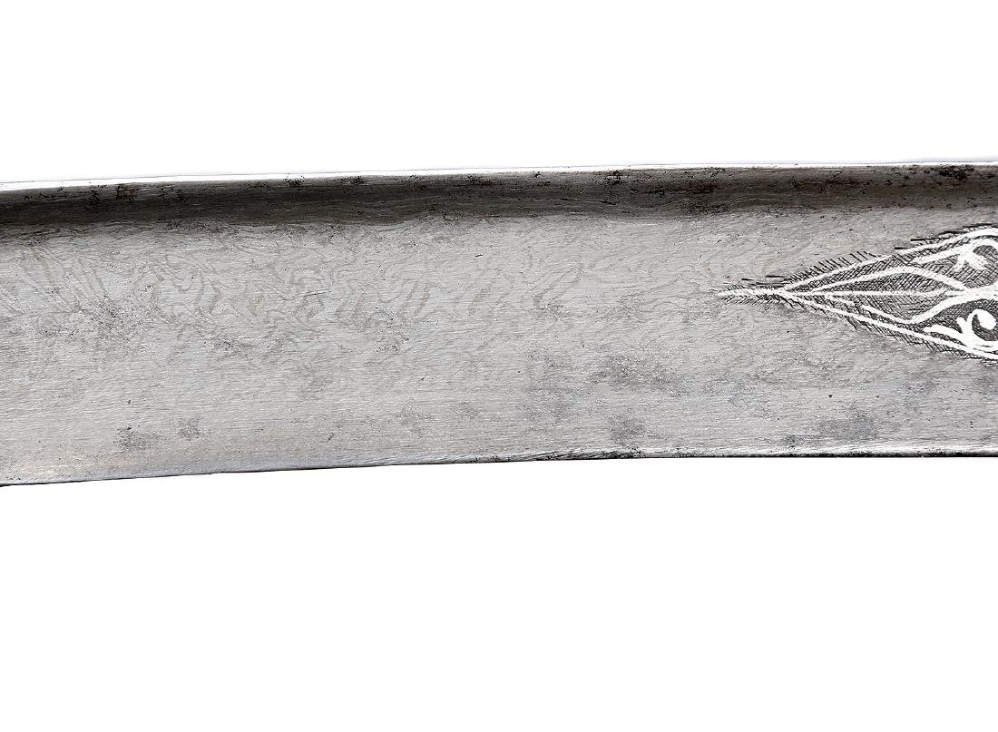 EARLY TURKISH YATAGAN WITH WATERED STEEL BLADE - 10