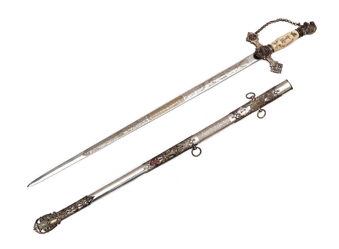 ANTIQUE ORNATE MASONIC KNIGHTS TEMPLAR SWORD - 2