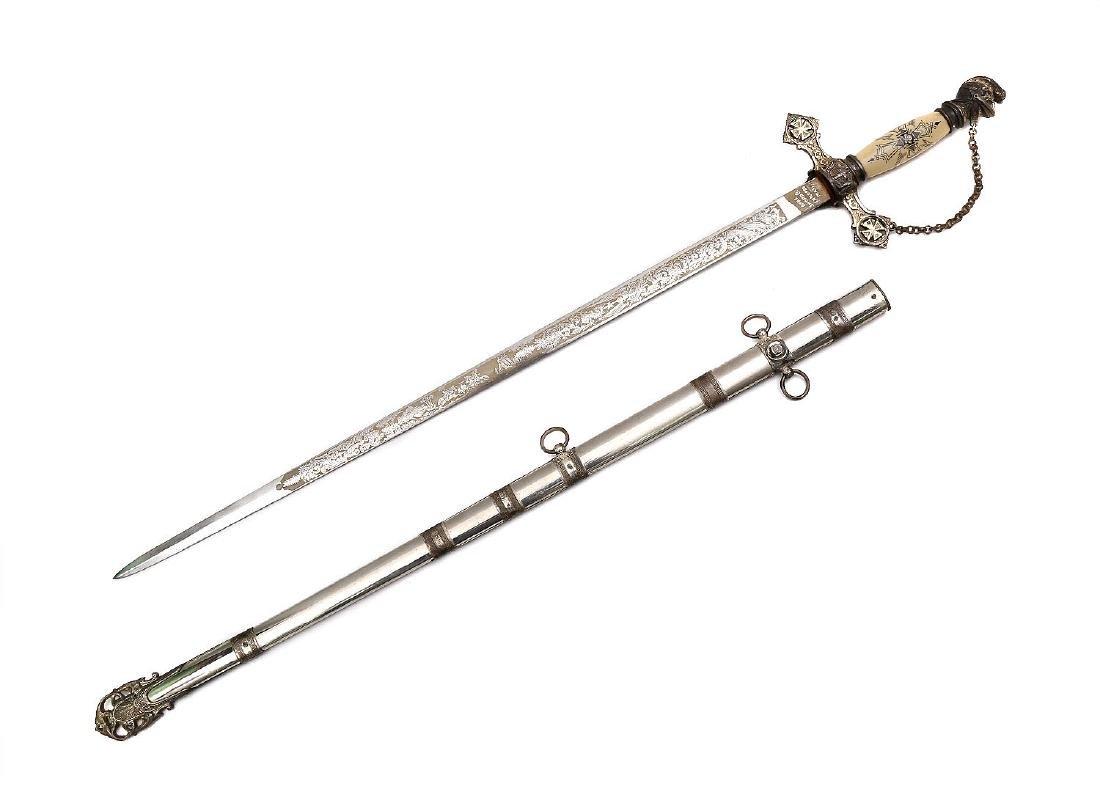 ANTIQUE ORNATE MASONIC KNIGHTS TEMPLAR SWORD - 3