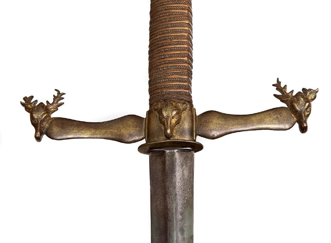 EXTRAORDINARY GERMAN HUNTING DOUBLE GRIP SWORD - 5