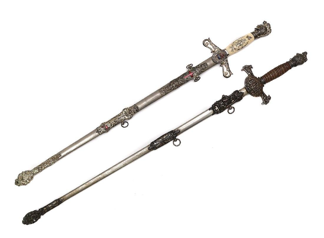 SET OF TWO GILT MASONIC CEREMONIAL SWORDS