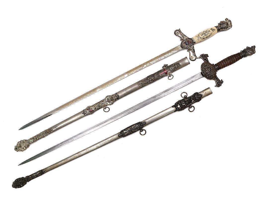 SET OF TWO GILT MASONIC CEREMONIAL SWORDS - 2