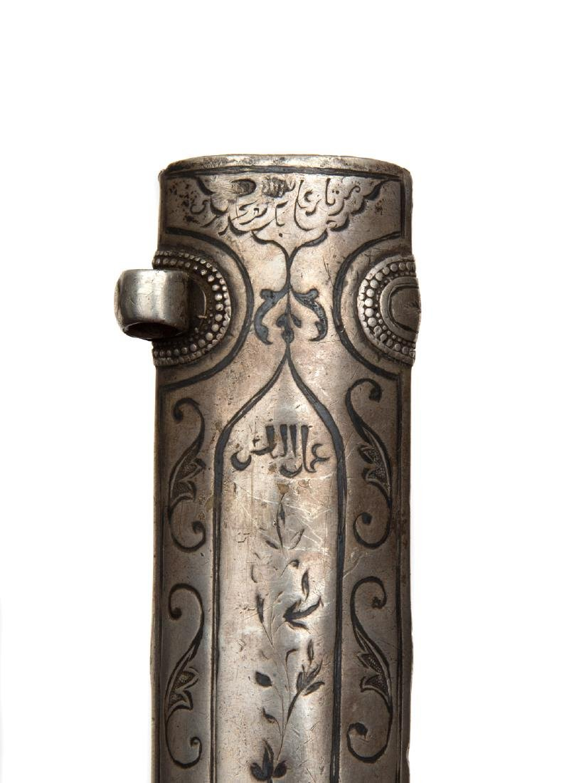 19TH CEN. SILVER MOUNTED CAUCASIAN DAGGER WITH ARABIC - 8