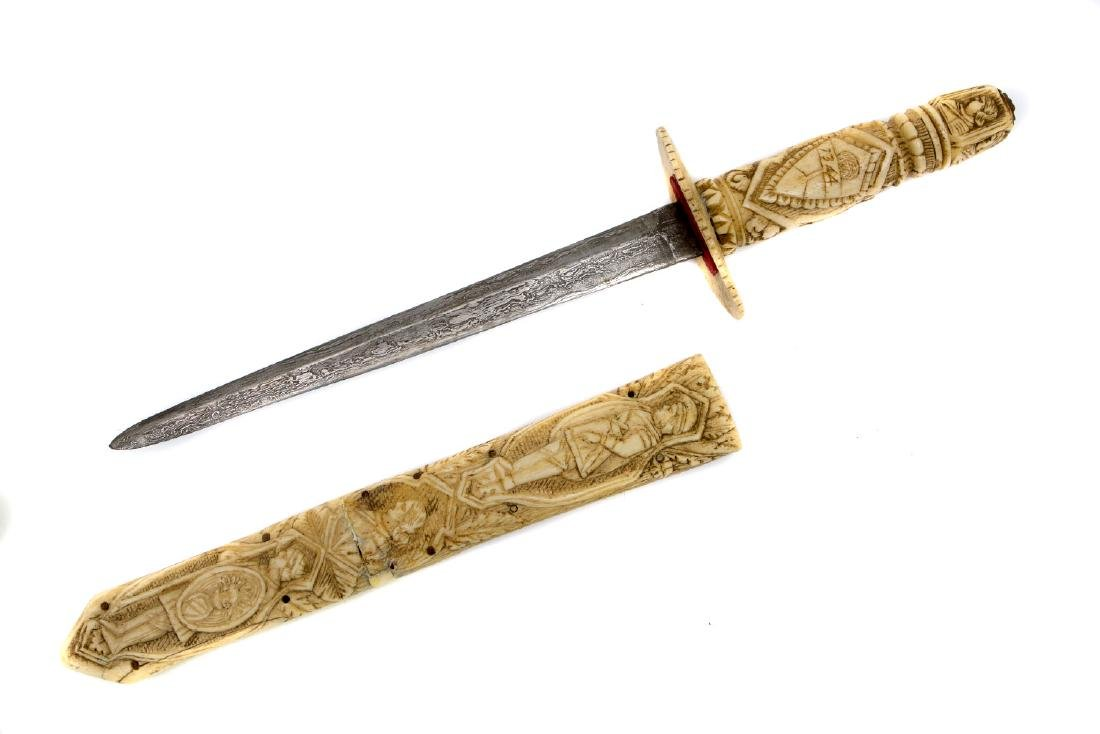 A CONTINENTAL CARVED BONE DAGGER, 19TH CENTURY - 2