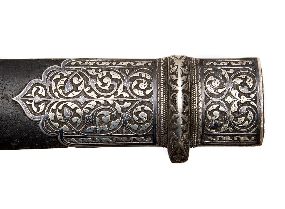 CAUCASIAN KINJAL IN THICK SILVER MOUNTS WITH NIELLO, - 7