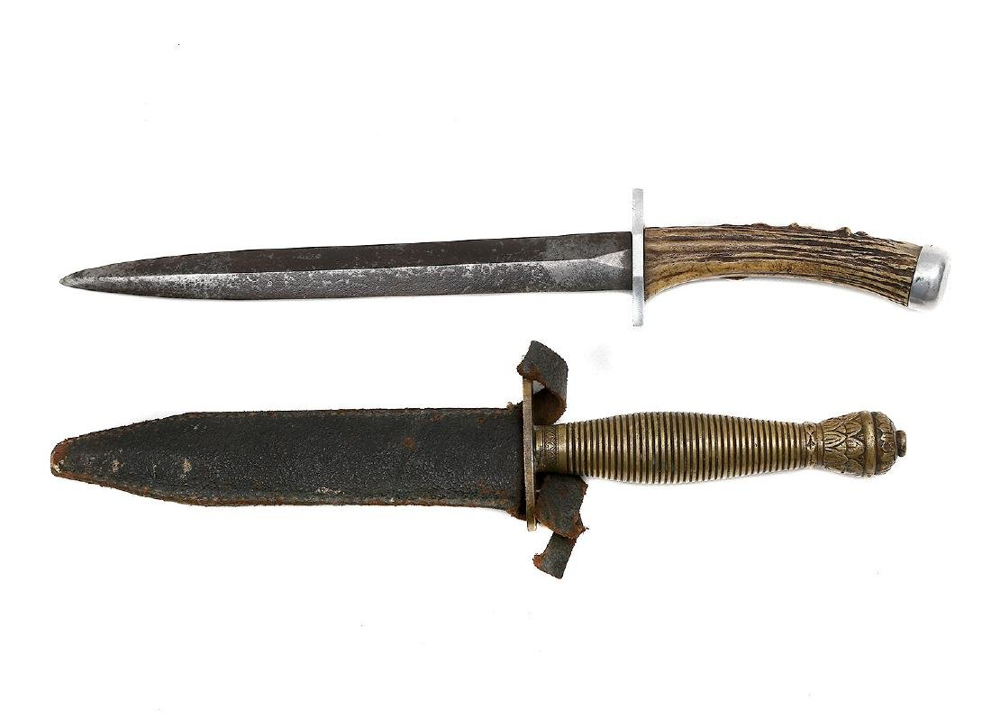 SET OF HORN GRIPPED DAGGER AND COMBAT DAGGER
