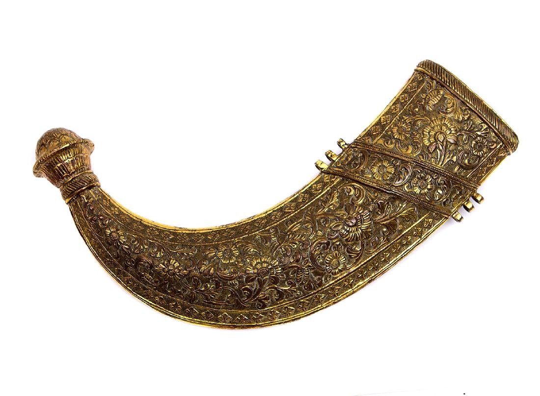 VERY FINE REPOUSSE BRASS INDO ARAB JAMBIYA, 19TH C. - 7