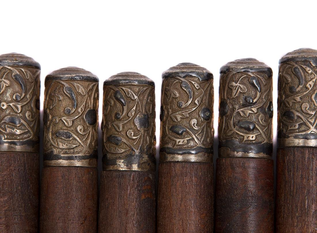 CAUCASIAN BELT CARTRIDGES WITH SILVER TOPS, 19TH C. - 2