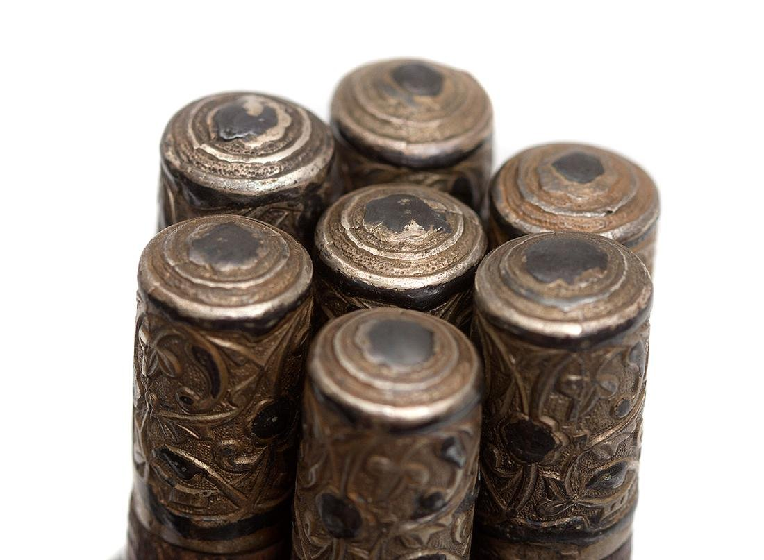 CAUCASIAN BELT CARTRIDGES WITH SILVER TOPS, 19TH C. - 3