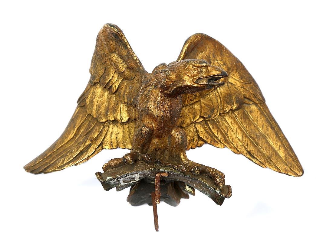 EXTREMELY RARE GILT AMERICAN EAGLE FLAG POLE TOP