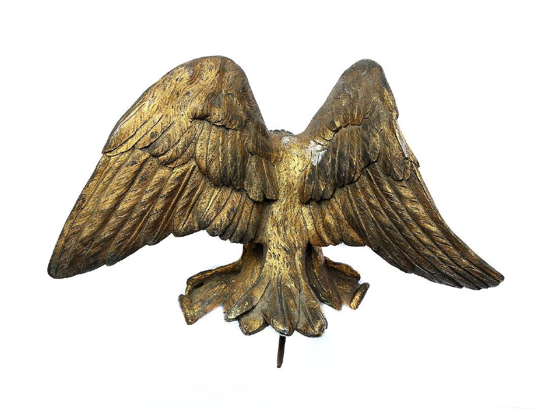 EXTREMELY RARE GILT AMERICAN EAGLE FLAG POLE TOP - 2