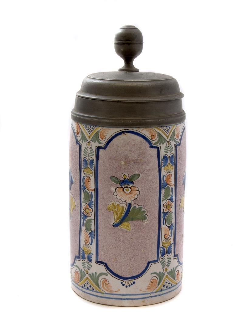 FAIENCE STEIN THURINGER WALZENKRUG LID DATED 1777,