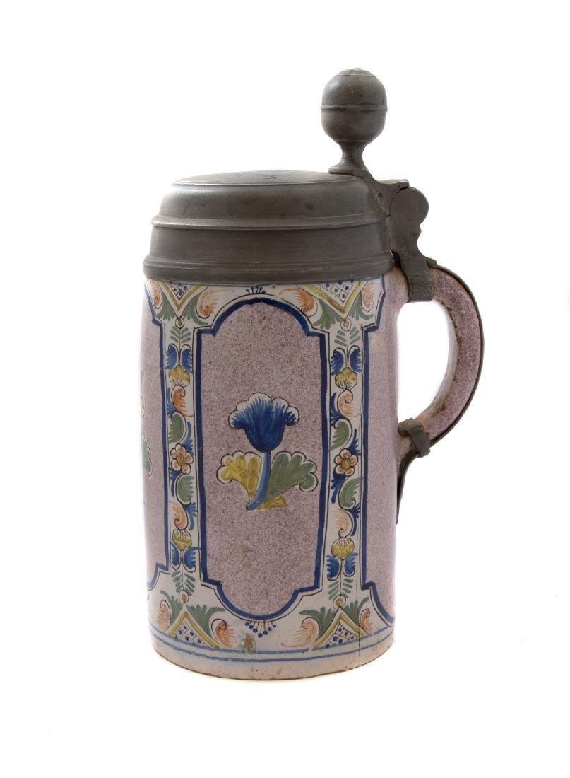 FAIENCE STEIN THURINGER WALZENKRUG LID DATED 1777, - 2