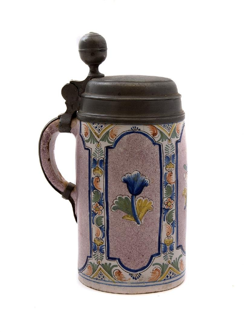 FAIENCE STEIN THURINGER WALZENKRUG LID DATED 1777, - 3