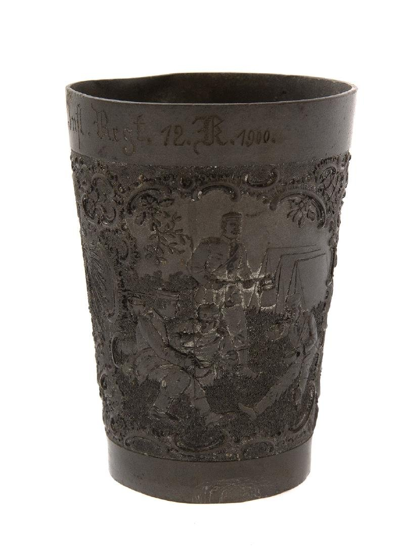 GERMAN PEWTER MILITARY SHOOTING PRIZE CUP, CA. 1900