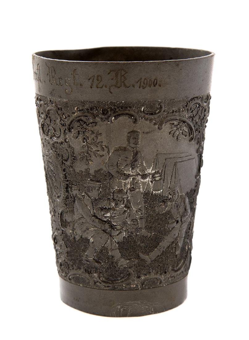 GERMAN PEWTER MILITARY SHOOTING PRIZE CUP, CA. 1900 - 2