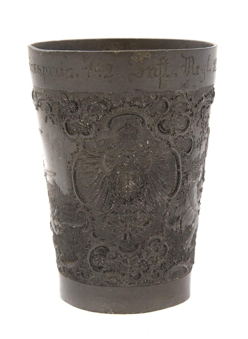 GERMAN PEWTER MILITARY SHOOTING PRIZE CUP, CA. 1900 - 3