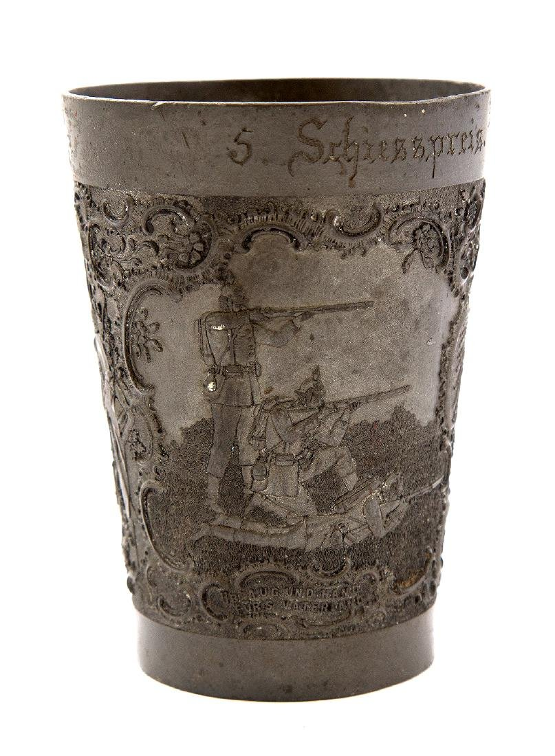 GERMAN PEWTER MILITARY SHOOTING PRIZE CUP, CA. 1900 - 4