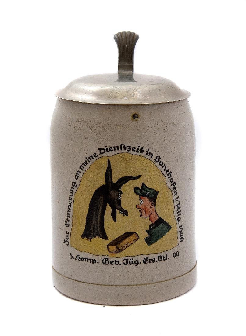 "WW2 MILITARY BEER STEIN, GEBIRGSJÃ""GER 1940"