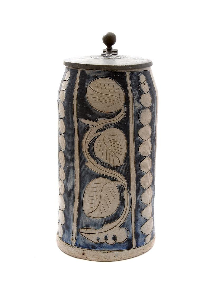 GERMAN STONEWARE BEER STEIN INCISED DECOR, CA. 1830