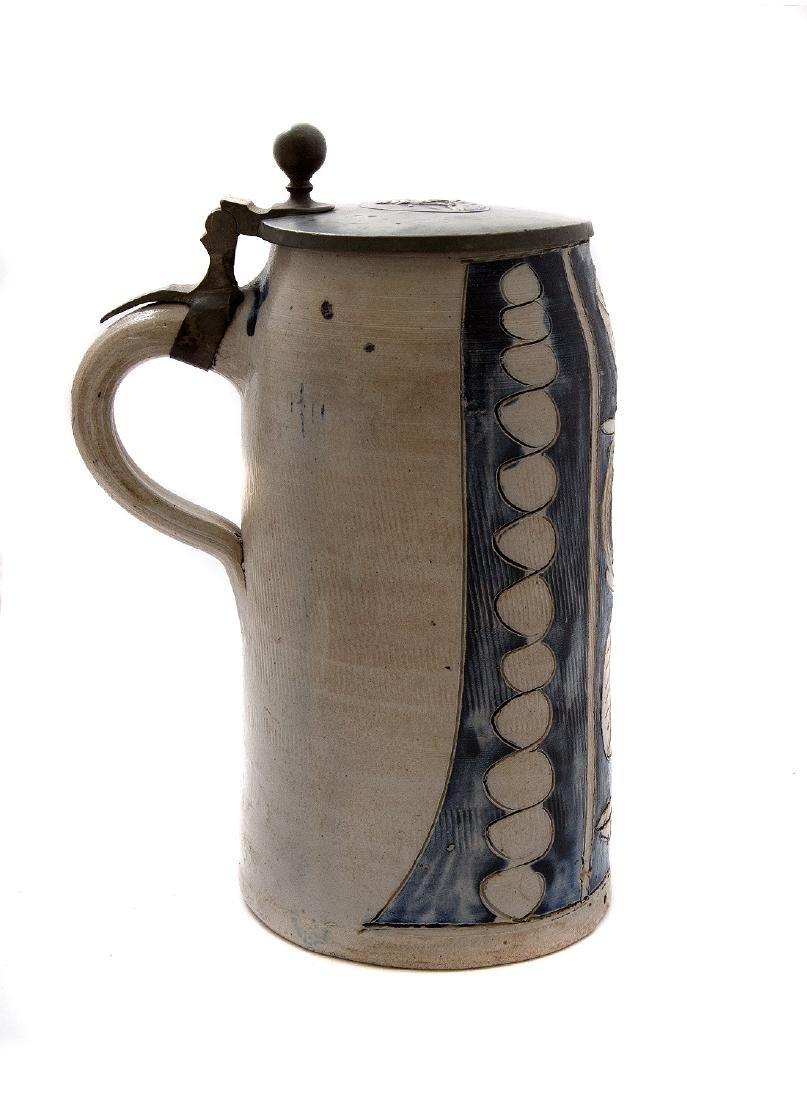 GERMAN STONEWARE BEER STEIN INCISED DECOR, CA. 1830 - 3