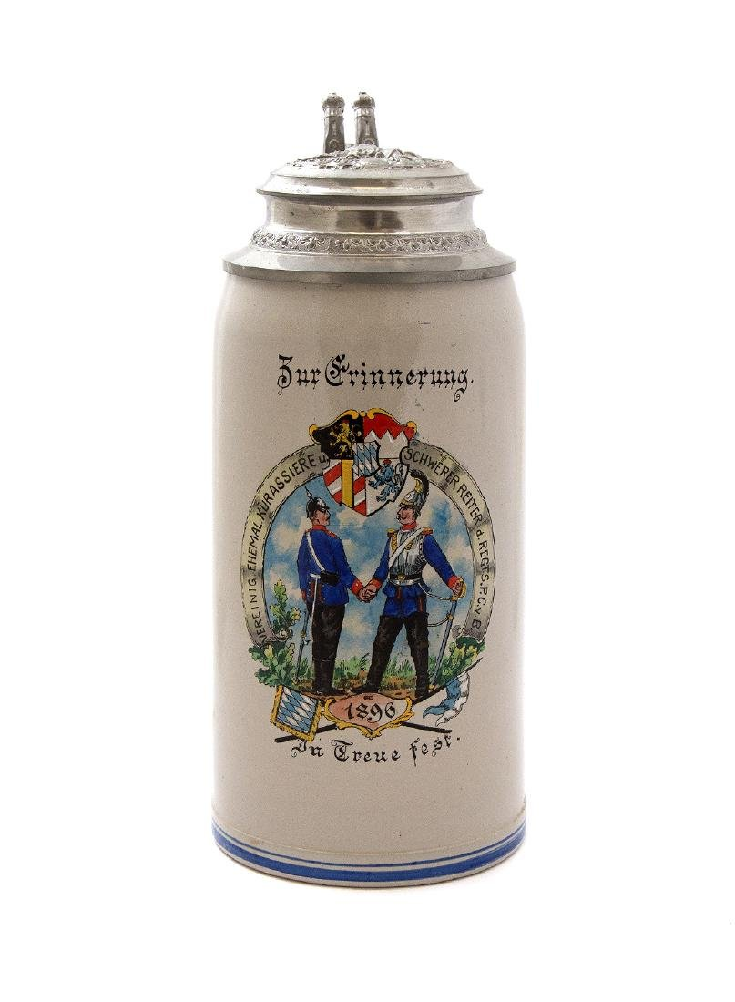 BEER STEIN COMMEMORATING WAR OF 1871, 1896 GERMANY