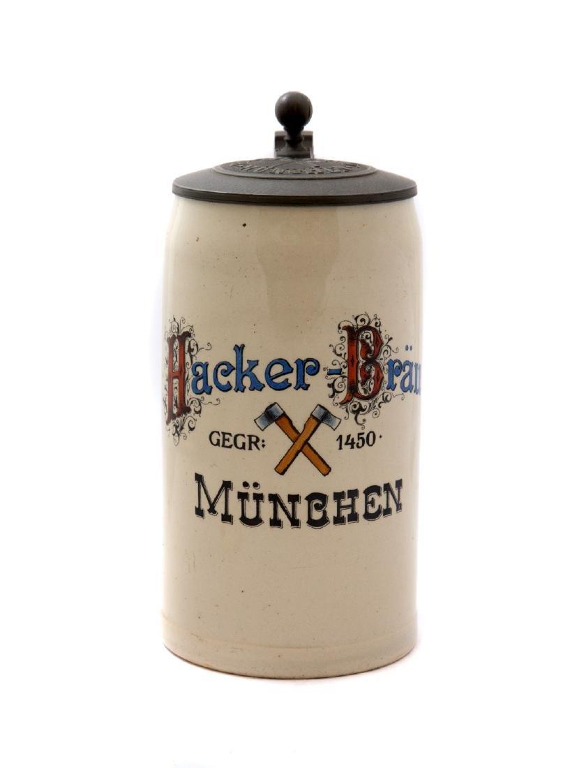 HACKERBRAU BREWERY BEER STEIN 1910, MUNCHEN