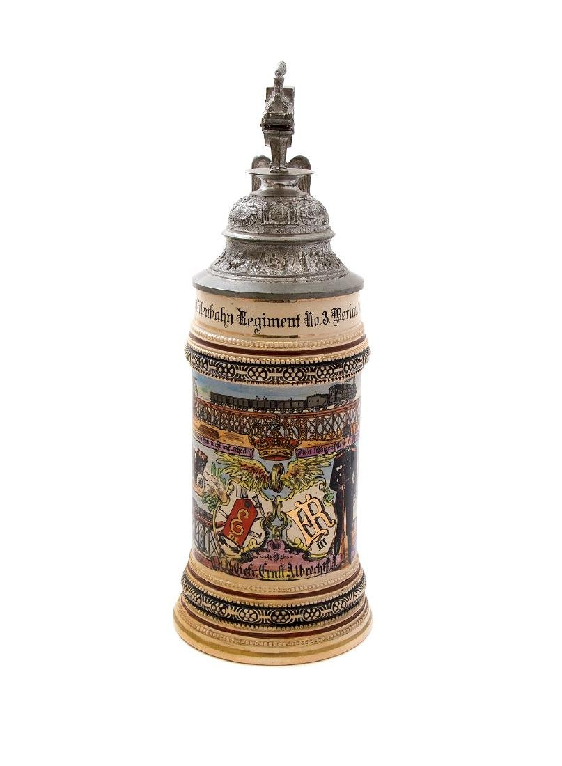 A RARE PRUSSIAN MILITARY RAILROAD BEER STEIN, 1907