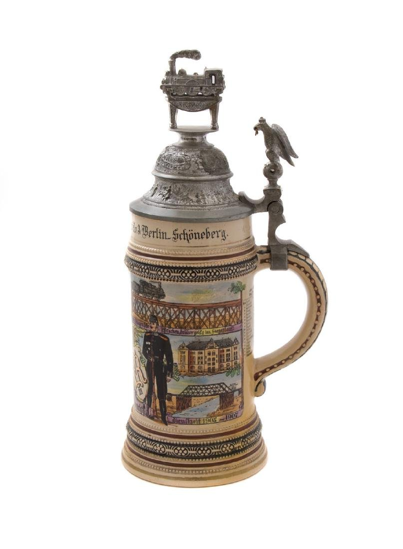 A RARE PRUSSIAN MILITARY RAILROAD BEER STEIN, 1907 - 2