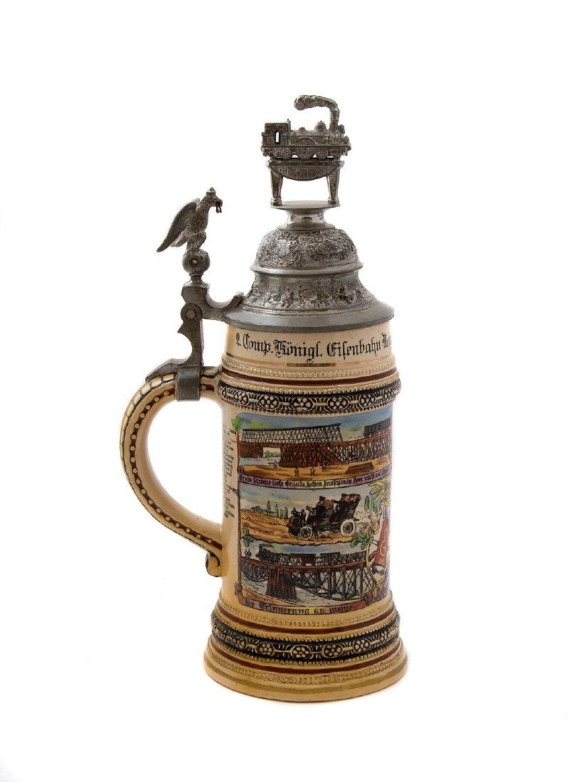 A RARE PRUSSIAN MILITARY RAILROAD BEER STEIN, 1907 - 3