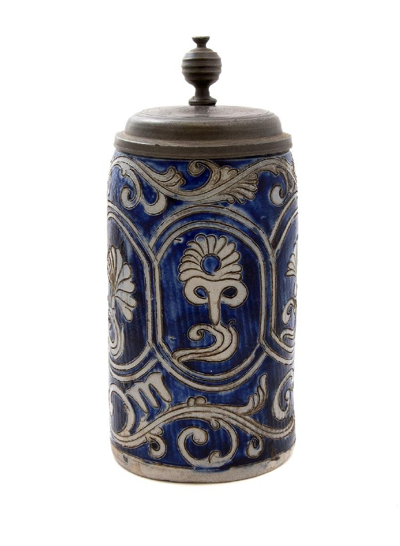 STEINGUT (IRONSTONE) STEIN W/ INCISED DECORATION, 1783