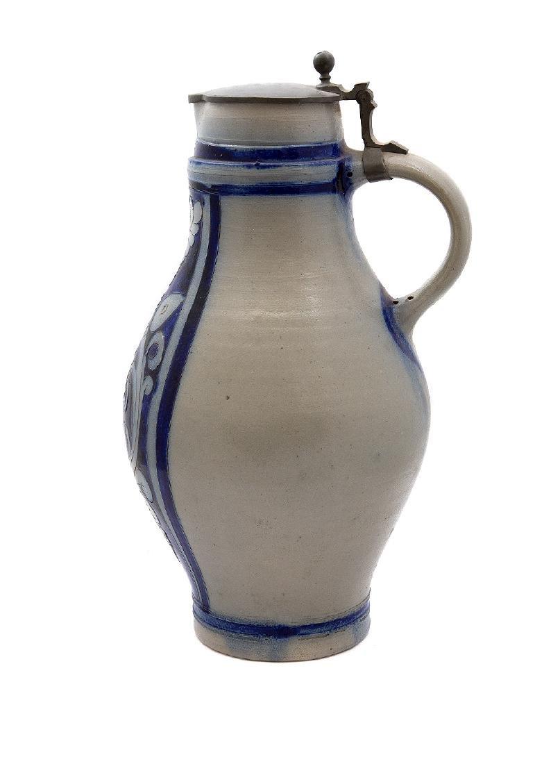 STONEWARE CIDER JUG W/ BLUE INCISED DECOR, CA. 1870 - 2