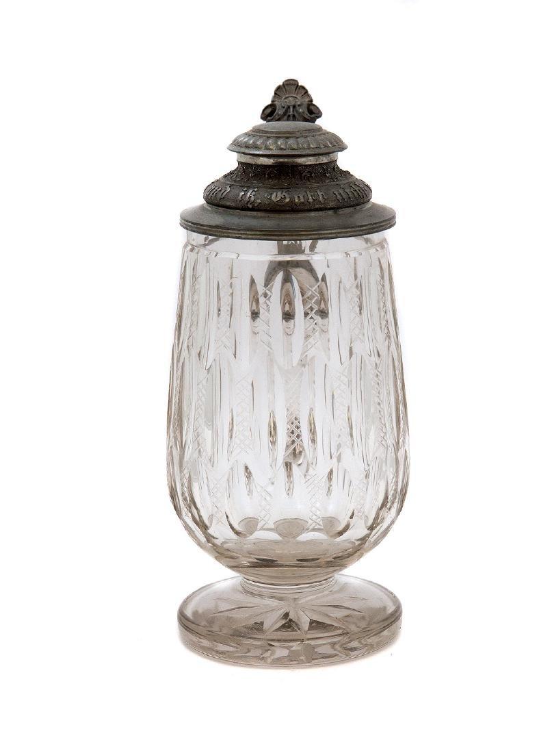 GERMAN FOOTED CUT GLASS BEER MUG