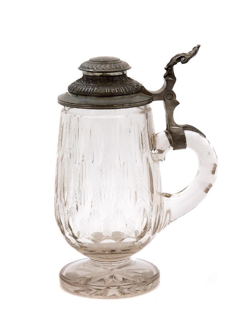 GERMAN FOOTED CUT GLASS BEER MUG - 2