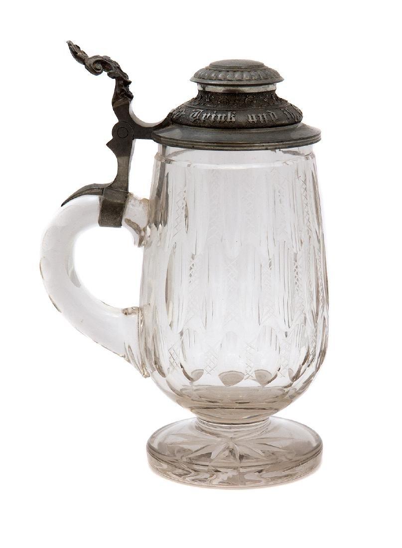 GERMAN FOOTED CUT GLASS BEER MUG - 3