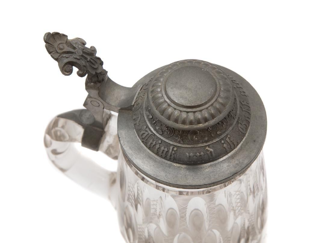 GERMAN FOOTED CUT GLASS BEER MUG - 4